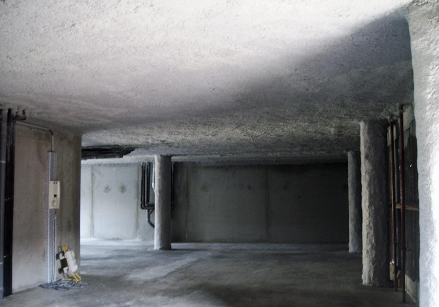 flocage Coupe Feu plafond plancher en béton et hourdis béton 1/2 heure 1 heure et 2 heures