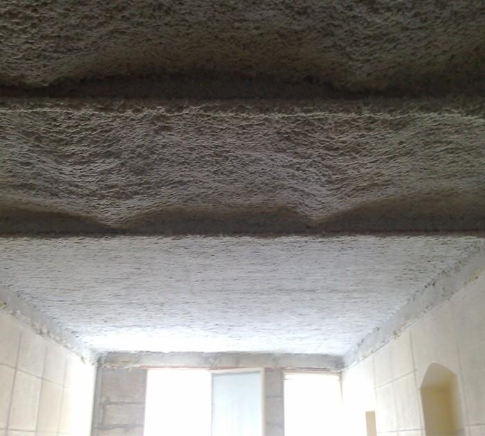 Flocage Coupe Feu sur plafond plancher en Briques Pleines ou Creuses