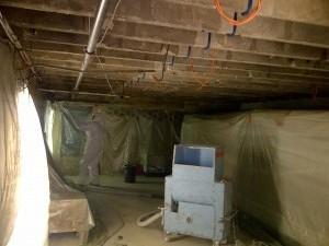 flocage coupe feu traitement CF sur charpente et plafond en bois